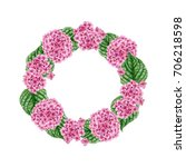 watercolor flower wreath from...   Shutterstock . vector #706218598
