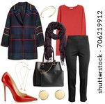 set of stylish clothes woman... | Shutterstock . vector #706219912