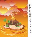 illustration of cartoon volcano ... | Shutterstock .eps vector #706232776