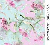 summer flowers seamless pattern.... | Shutterstock . vector #706237726