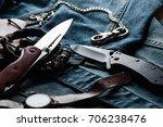 stainless steel folding knife... | Shutterstock . vector #706238476