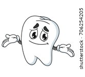 smiling tooth cartoon character ... | Shutterstock .eps vector #706254205