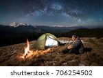 male tourist have a rest in his ... | Shutterstock . vector #706254502