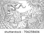 beautiful girl travels sitting... | Shutterstock .eps vector #706258606