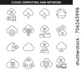 cloud computing icons in line... | Shutterstock .eps vector #706265998