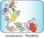 easter eggs blue card  with... | Shutterstock .eps vector #70628002