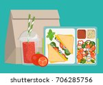 lunchbox with healthy food. the ... | Shutterstock .eps vector #706285756