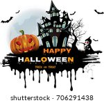 happy halloween background with ... | Shutterstock .eps vector #706291438