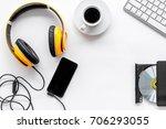 desk of musician for songwriter ... | Shutterstock . vector #706293055