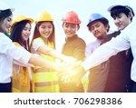 teams of engineers work... | Shutterstock . vector #706298386