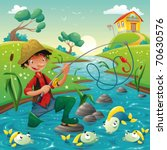 Cartoon scene with fisherman and fish. Vector illustration, isolated objects - stock vector