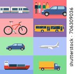 means of transport flat design | Shutterstock .eps vector #706309036