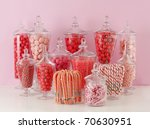 Candy In Bowls On Pink...