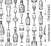 seamless pattern with alcoholic ... | Shutterstock .eps vector #706310662