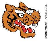 tiger head vector isolate on...   Shutterstock .eps vector #706311316