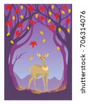 deer in autumn forest  vector... | Shutterstock .eps vector #706314076