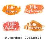 orange and red hello autumn... | Shutterstock .eps vector #706325635