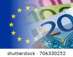 Eu Flag With Euro Banknotes...