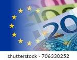 Eu Flag With Euro Banknotes...