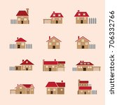 clip art  house vector icon set ... | Shutterstock .eps vector #706332766