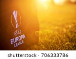 Small photo of Thessaloniki, Greece- August 2, 2017: UEFA Europa League Logo on the bag on the pitch in the sunset
