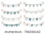 cute vector doodle buntings set ... | Shutterstock .eps vector #706336162