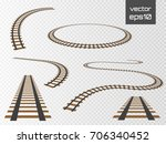 railroad tracks set  rails... | Shutterstock .eps vector #706340452