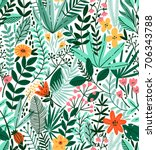 tropical seamless floral... | Shutterstock .eps vector #706343788