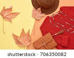 autumn arrives. fashion lady... | Shutterstock . vector #706350082