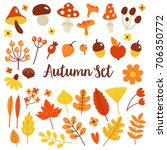 autumn set of bright elements... | Shutterstock .eps vector #706350772