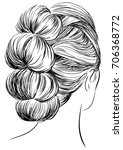 pretty long hairstyles | Shutterstock .eps vector #706368772