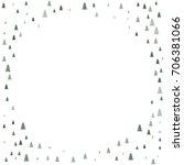 christmas trees round frame... | Shutterstock .eps vector #706381066