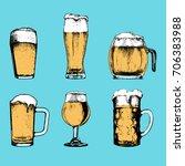 vector set of vintage beer... | Shutterstock .eps vector #706383988