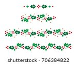 christmas holly border | Shutterstock .eps vector #706384822