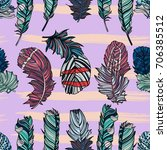 seamless feather pattern.... | Shutterstock .eps vector #706385512