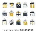 gift boxes set  hand drawn... | Shutterstock .eps vector #706393852