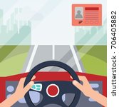 hands of a driver on steering... | Shutterstock .eps vector #706405882