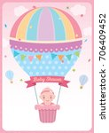 baby shower card for newborn... | Shutterstock .eps vector #706409452