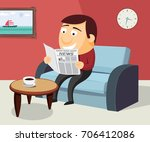 happy man is reading a... | Shutterstock .eps vector #706412086