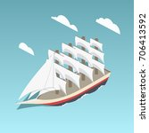 vintage sailing ship colorful... | Shutterstock . vector #706413592