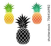 set with pineapple tropical... | Shutterstock .eps vector #706416982