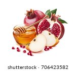 red apple  pomegranate and... | Shutterstock . vector #706423582