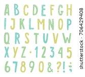 beautiful hand drawn alphabet.... | Shutterstock .eps vector #706429408