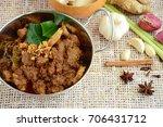 beef rendang. the popular... | Shutterstock . vector #706431712