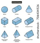 3d solid shapes collection with ... | Shutterstock .eps vector #706434526