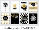 2018 set of happy new year card ... | Shutterstock .eps vector #706435972
