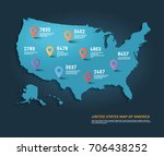 vector map of united states of... | Shutterstock .eps vector #706438252