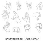 collection of 12  hand gestures ... | Shutterstock .eps vector #70643914