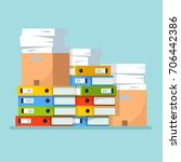 huge pile of office paperwork.... | Shutterstock .eps vector #706442386
