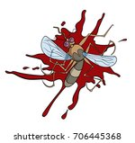 cartoon squashed mosquito with... | Shutterstock .eps vector #706445368